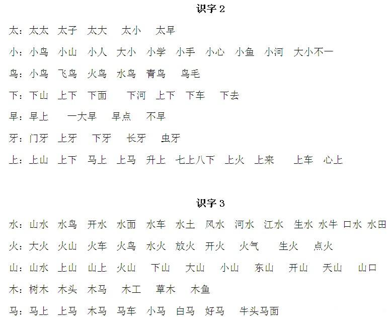 苏教版小学语文一年级上册生字表全 小学教