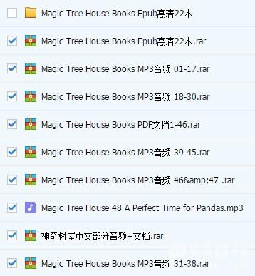 神奇树屋Magic Tree House 1-53册mp3音频+电子书下载(百度云)